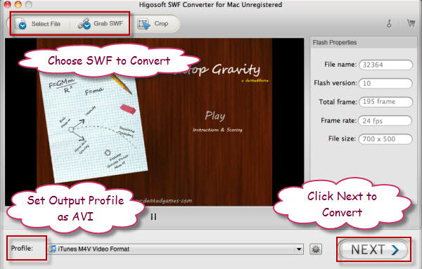 convert SWF to AVI on Mac